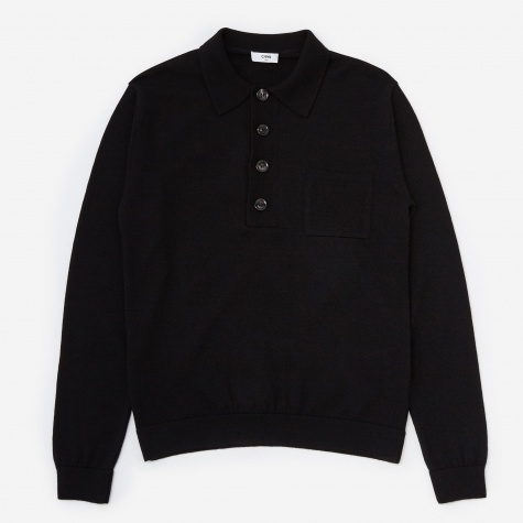Curtis Polo Neck Sweater - Black