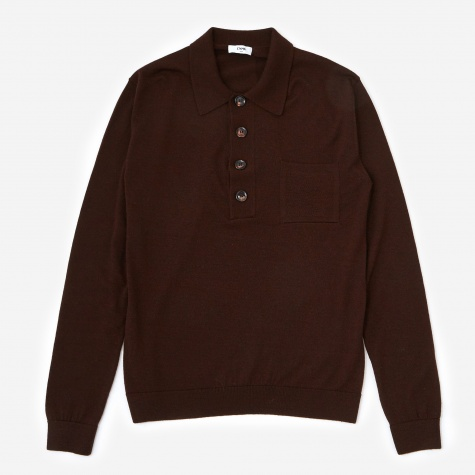 Curtis Polo Neck Sweater - Brown