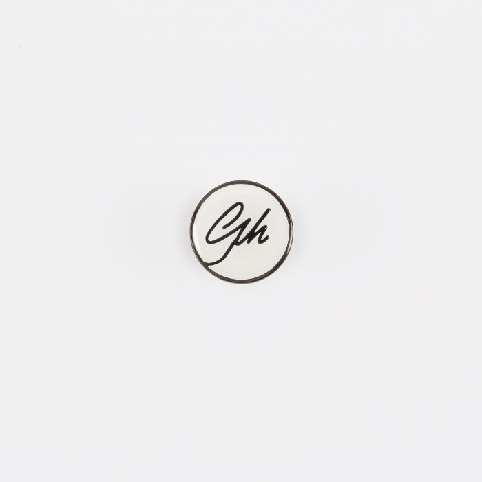 Gh Logo Pin Badge   White by Goods By Goodhood