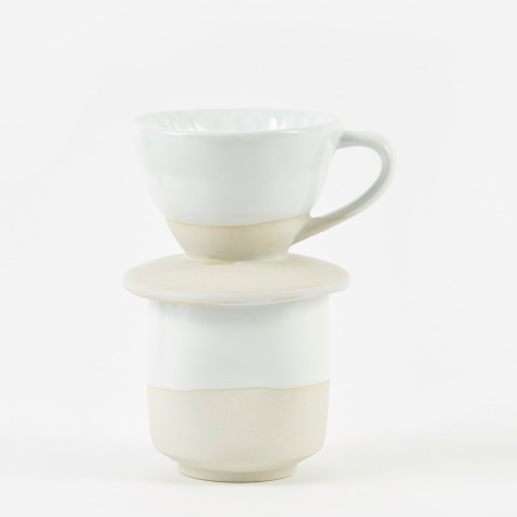 Coffee Pour Over + Pinch Cup - White