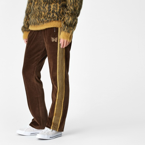 Narrow Velour Track Pant - Brown