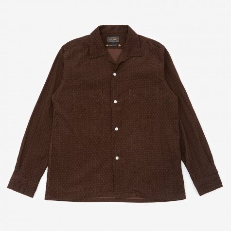 Printed Corduroy Shirt - Brown