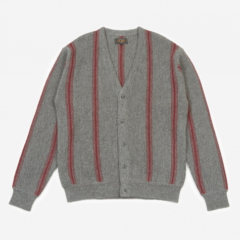 Stripe Cardigan - Grey/Burgundy