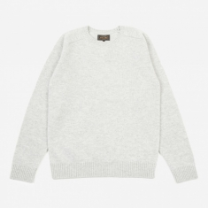 Beams Plus Knitted Crewneck Jumper - Light Grey