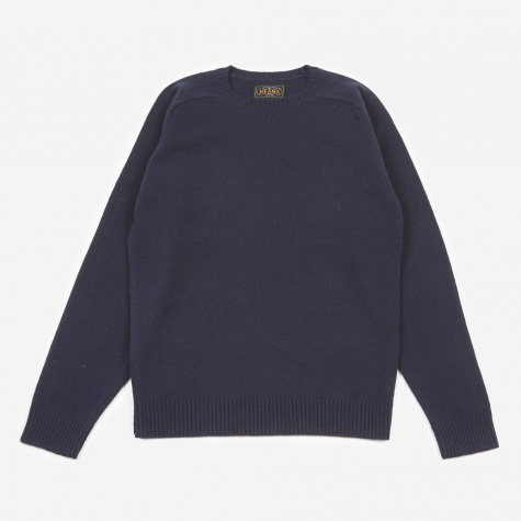 Knitted Crewneck Jumper - Navy