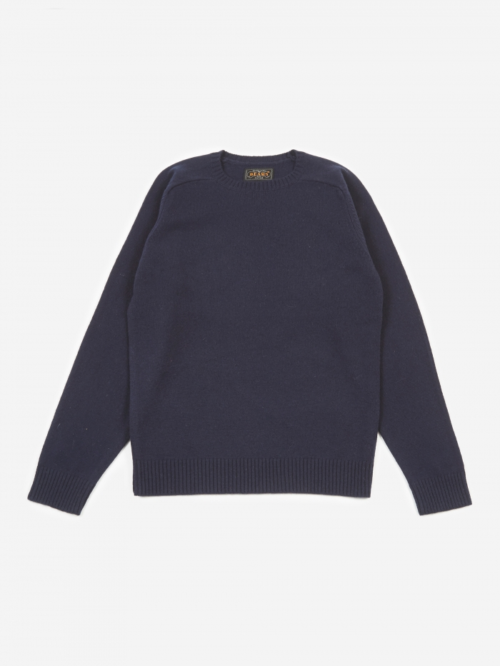 Beams Plus Knitted Crewneck Jumper - Navy (Image 1)