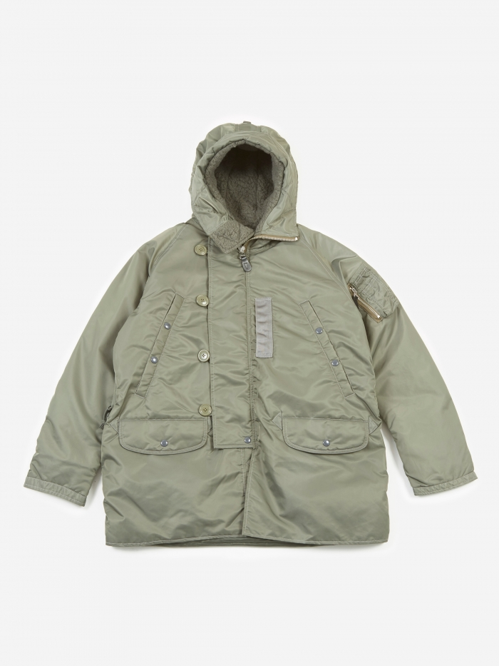 Beams Plus N-3B Down Coat - Olive (Image 1)