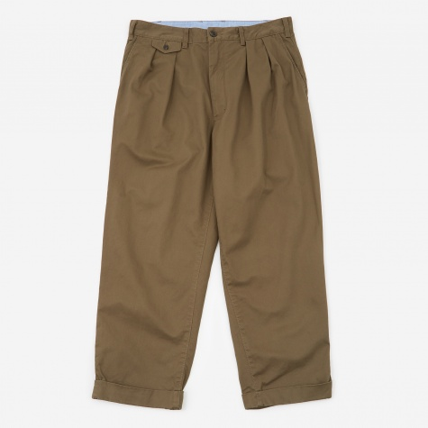 Two Pleats Chino Trouser - Olive