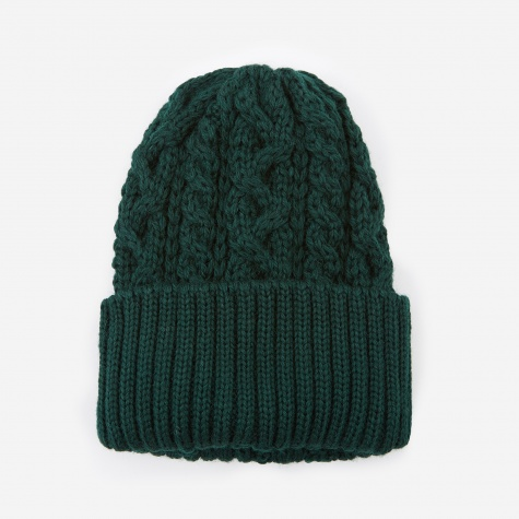 Cable Knit Beanie - Dark Green