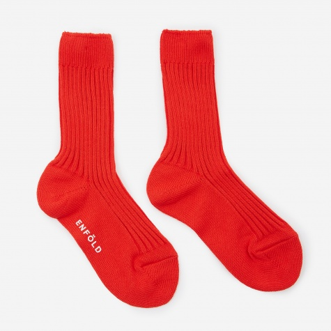 Rib Socks - Red