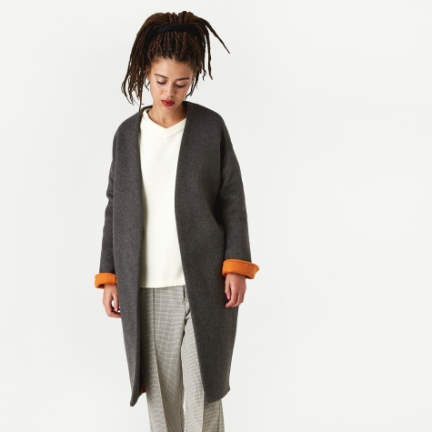 No Collar Coat - Top Grey