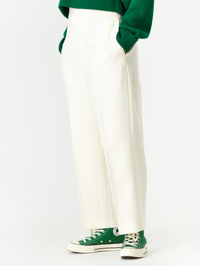 Enfold Double Cloth Straight Trouser - White (Image 1)