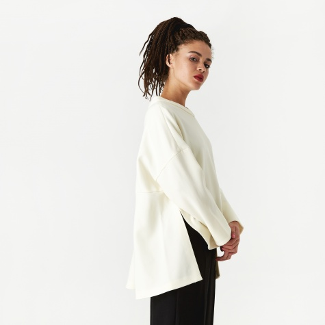 Fine Wool Double Cloth Relax Jumper - White
