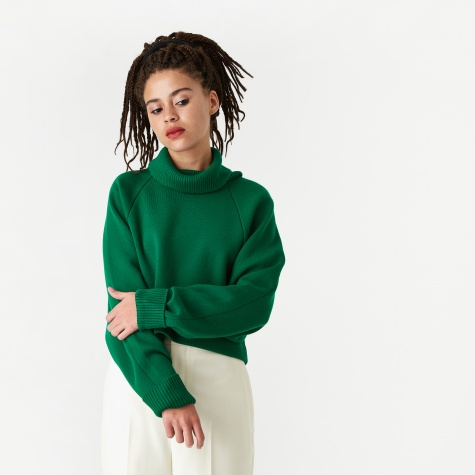 Lara Volume Sleeve Cropped Pullover - Green