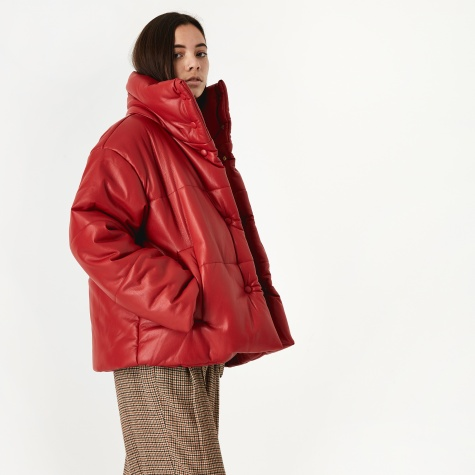 Hide Vegan Leather Puffer Coat - Red