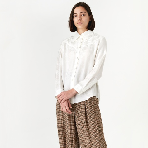Maddy Silk Jacquard Shirt - White Rose