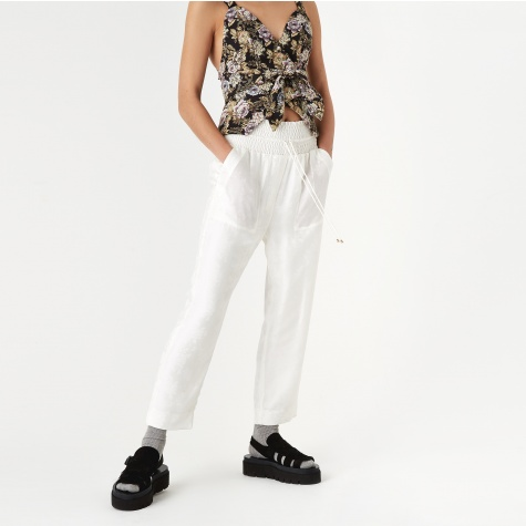 Harlem Silk Jacquard Trouser - White Rose