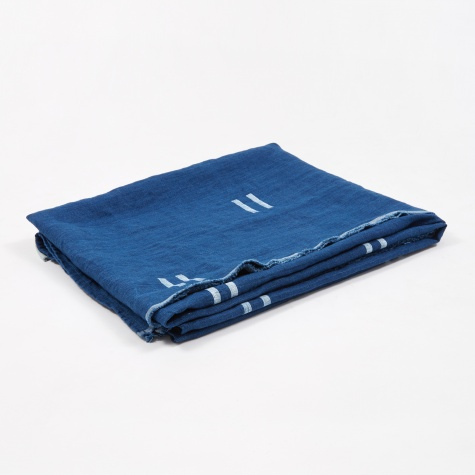 Oaxaca Indigo Throw - White Dashes