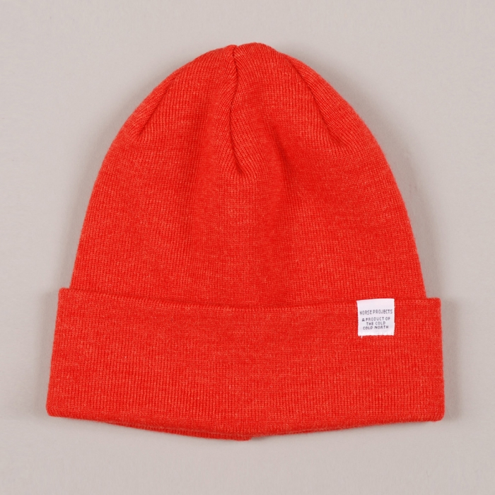 Norse Projects Top Beanie - Safety Orange (Image 1)