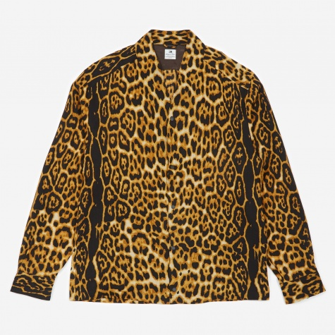 Collarless Longsleeve Shirt - Leopard