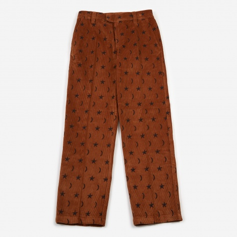 Billy Embroidered Corduroy Trouser - Brown