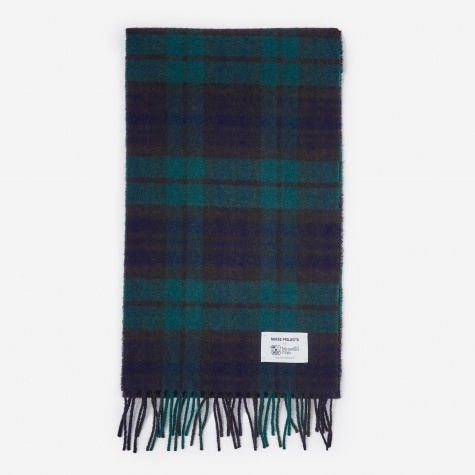 Norse x Johnstons Check Scarf - Black Watch Check