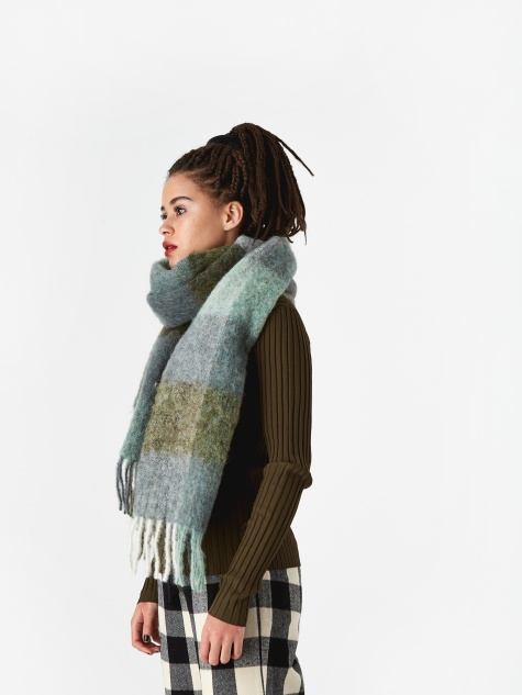 Fresia Check Scarf - Green