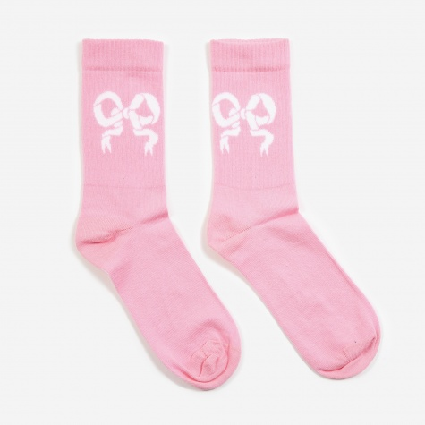 Ribbon Tennis Sock 2 Pack - Pink