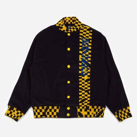 Corduroy Letterman Jacket - Navy/Yellow