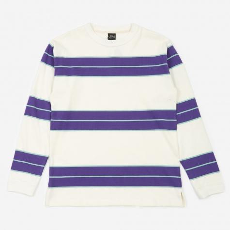 Aberdeen Border Longsleeve T-Shirt - Off White/Blue