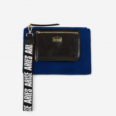 Sheepskin and Leather Pouch - Blue