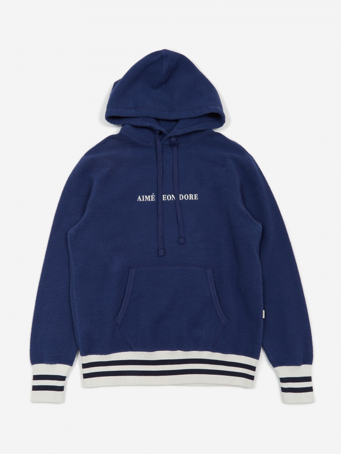 Aime Leon Dore Reverse Fleece Hooded Sweatshirt - Navy (Image 1)