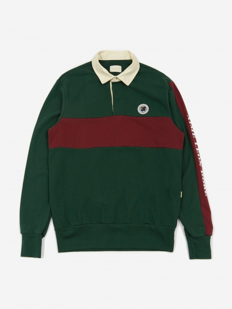 Longsleeve Logo Rugby Top - Green/Burgundy