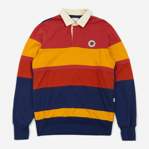 Longsleeve Colour Block Rugby Top - Red /Mustard/