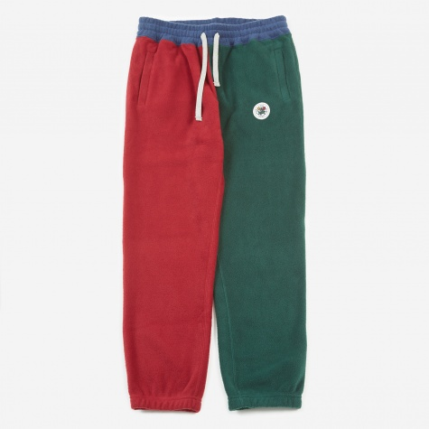 Polar Fleece Blocked Trouser - Burgundy/Green/Nav