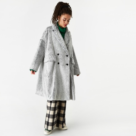 Dyed Shearling Faux Fur Coat - Pussywillow Grey