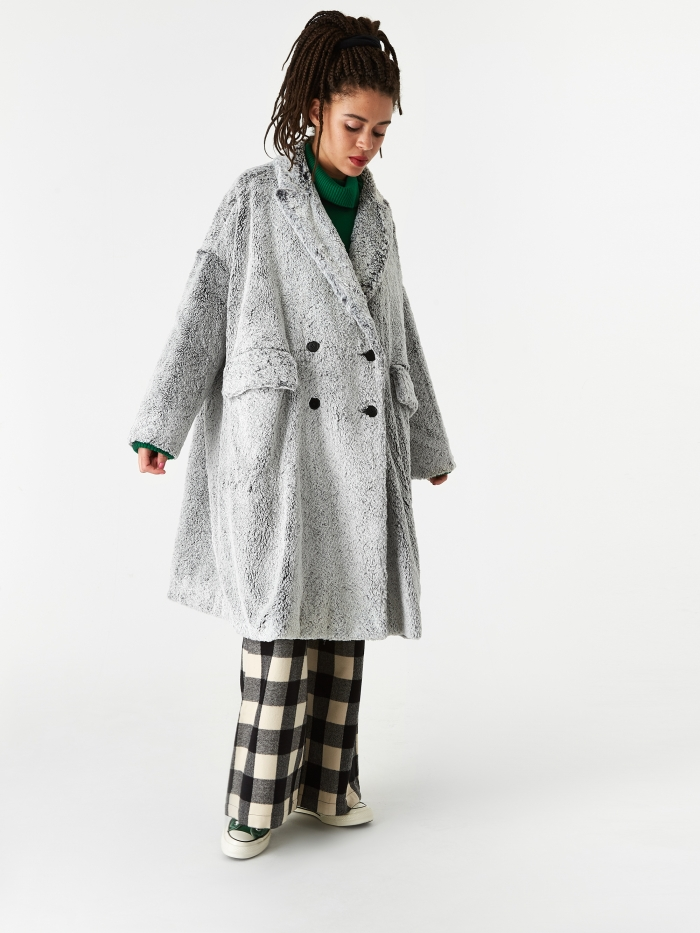 Neul Dyed Shearling Faux Fur Coat - Pussywillow Grey (Image 1)
