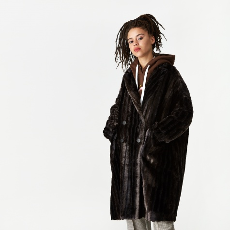 Faux Mink Fur Coat - Black