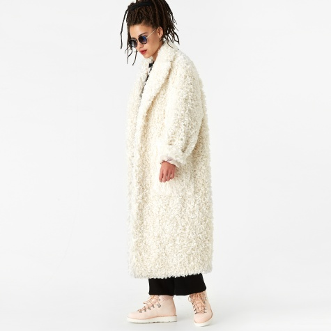 Faux Lambswool Coat - White