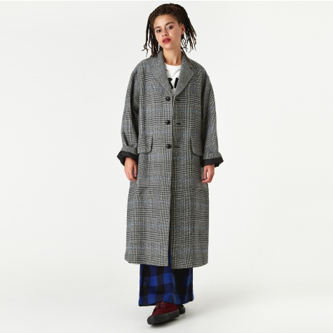 Glen Check Daddy Coat - White/Black