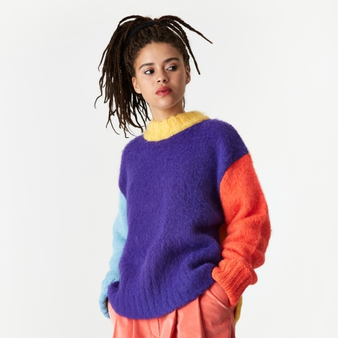 Colour Puzzles Brushed Sweater - Violet/Yellow/Blue