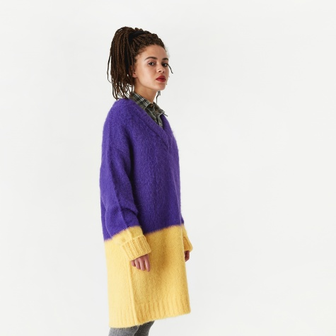 Colour Blocked Long Sweater - Prism Violet/Banana Cream