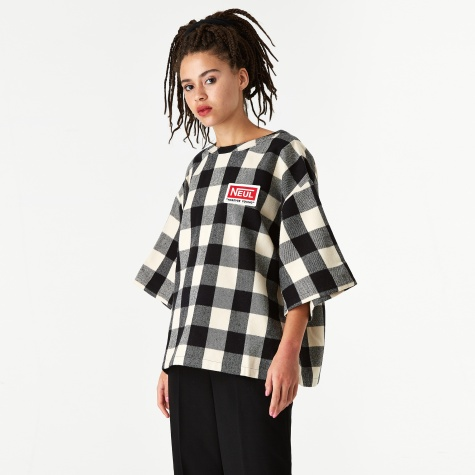Wappen Top - Ivory/Black Block Check Pattern