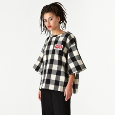 Neul Wappen Top - Ivory/Black Block Check Pattern