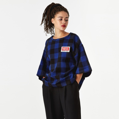 Wappen Top - Blue/Black Block Check Pattern