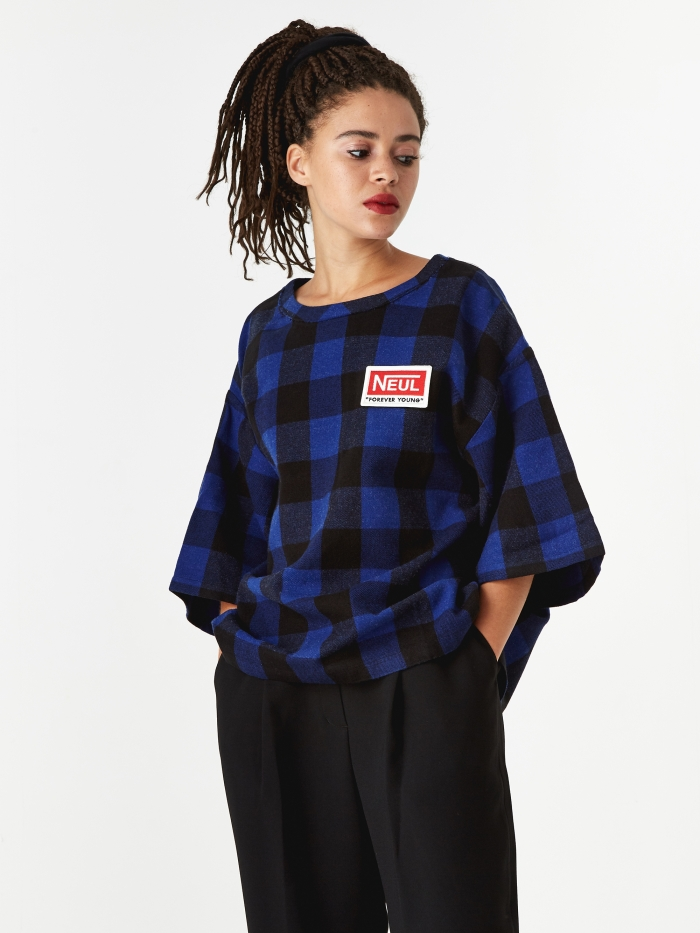 Neul Wappen Top - Blue/Black Block Check Pattern (Image 1)