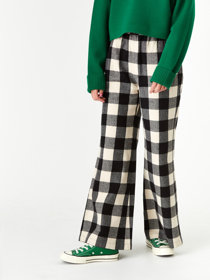 Neul Bell Bottom Track Pant - Ivory/Black Block Check Pattern (Image 1)