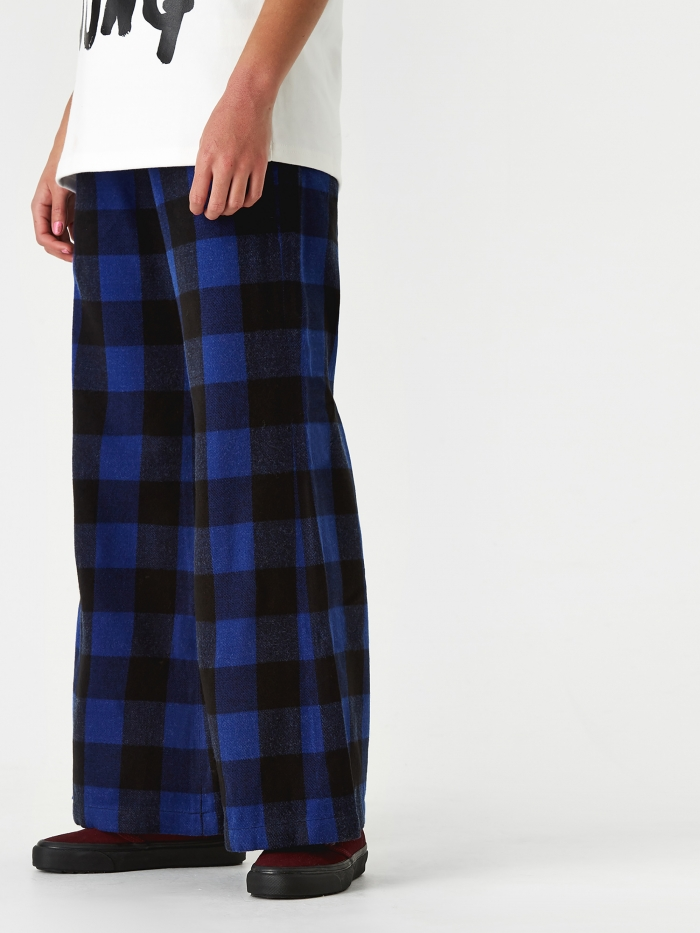Neul Bell Bottom Track Pant - Blue/Black Block Check Pattern (Image 1)