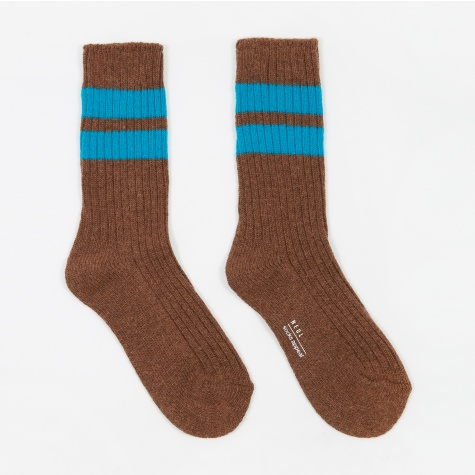 Twin Stripe Wool Socks - Toffee/Vivid Blue