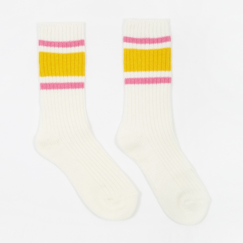 Triple Stripe Wool Socks - Ivory/Gold Fusion/Pink Carnation